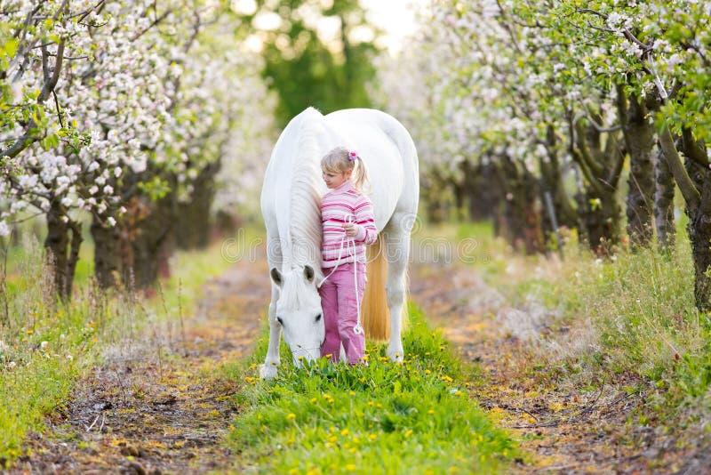 Criança pequena com um cavalo branco no pomar de maçã foto de stock royalty free
