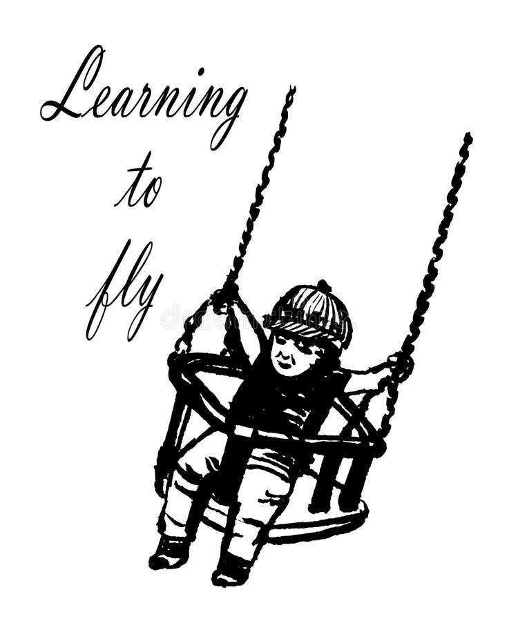 Criança pequena da imagem do desenho em balanços engraçados de um tampão em um balanço com correntes longas, ilustração do ` s da ilustração do vetor