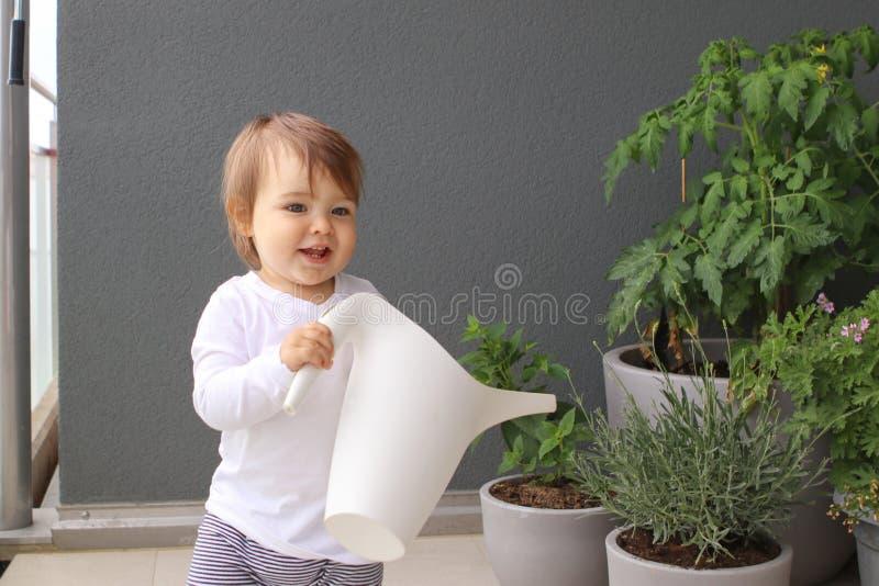 Criança pequena de sorriso engraçada com a lata molhando em suas mãos que ajudam suas plantas da mãe e molhar no balcão fotografia de stock