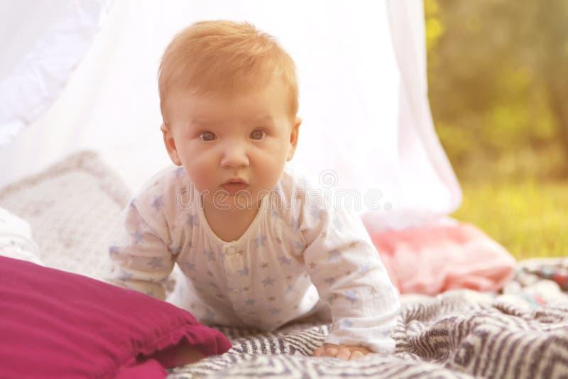 Criança pequena do bebê do infante recém-nascido em uma manta no parque verão SU imagem de stock