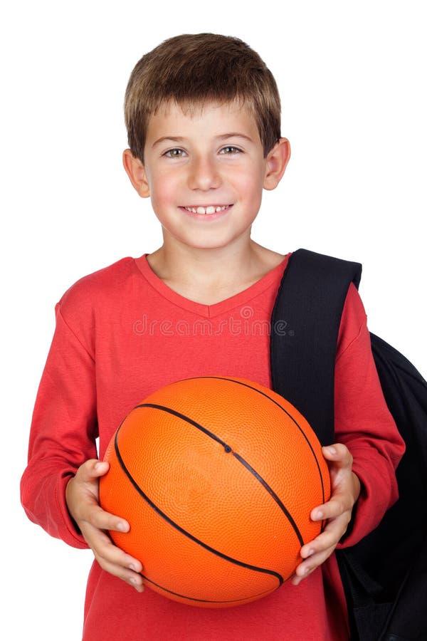 Criança pequena do estudante com cabelo louro fotografia de stock royalty free