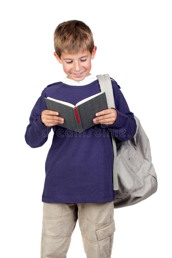 Criança pequena do estudante com cabelo louro fotografia de stock
