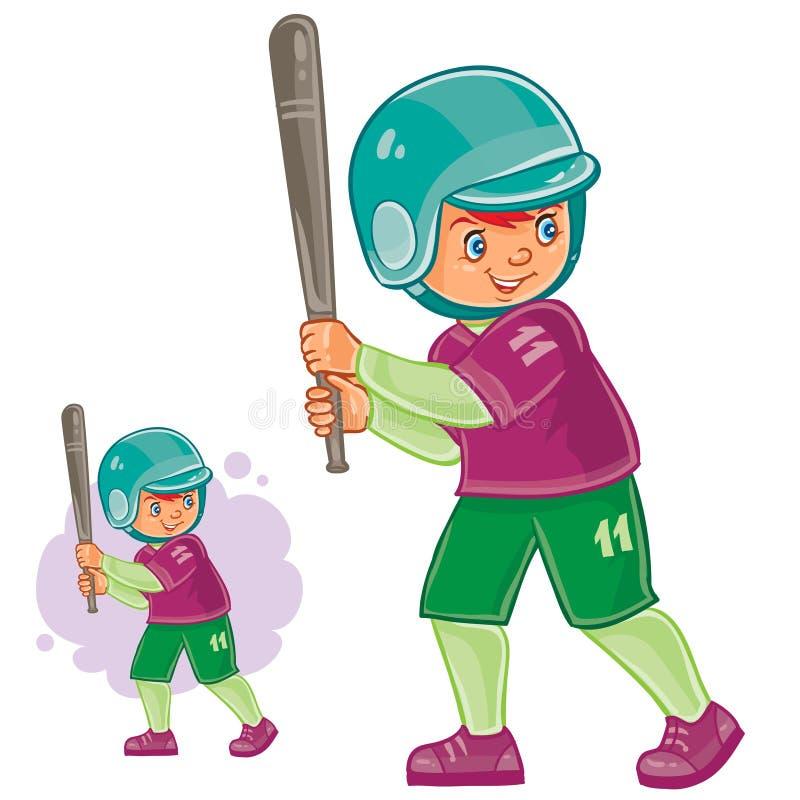 Criança pequena do vetor que joga o basebol ilustração do vetor