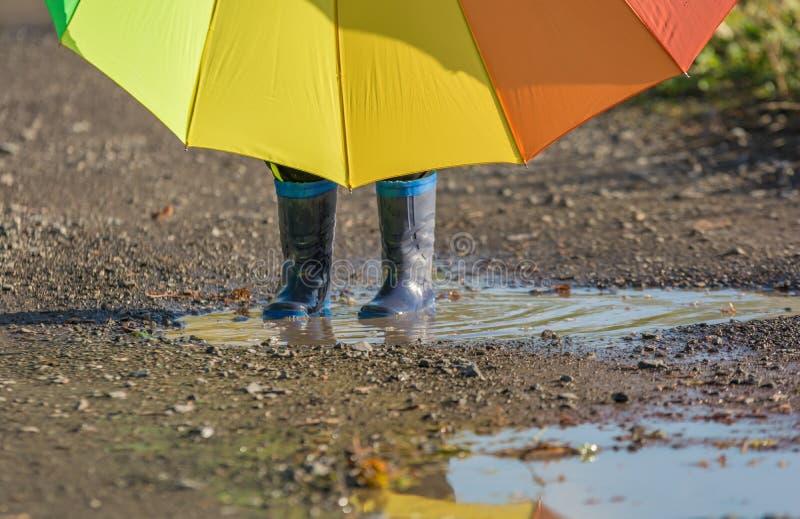 A criança pequena está com botas de borracha em uma poça que guarda um guarda-chuva grande fotos de stock royalty free