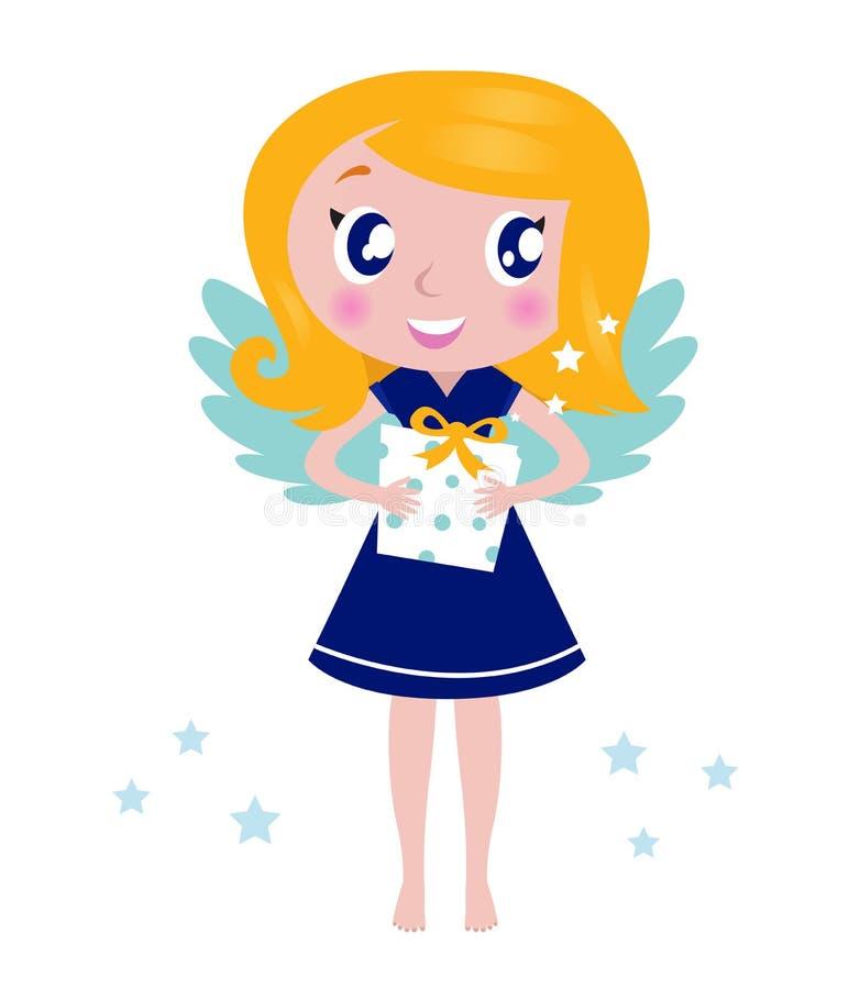 Criança pequena feliz do anjo do Natal com presente ilustração do vetor
