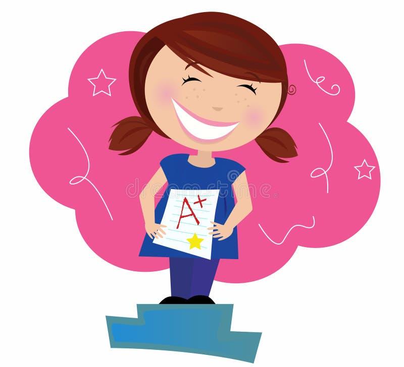 Criança pequena feliz que sonha sobre boas classes ilustração royalty free