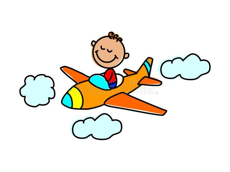 Criança piloto Ilustração do vetor da criança dos desenhos animados ilustração stock