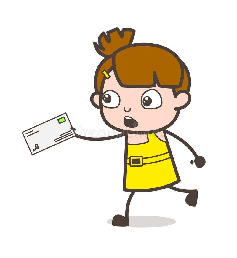 Criança preocupada que corre com letra - vetor bonito da menina dos desenhos animados ilustração stock