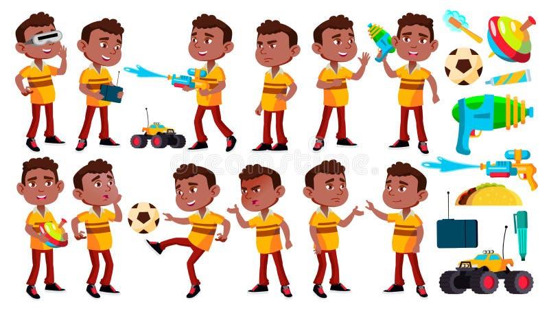 A criança preta, afro-americana do jardim de infância do menino levanta vetor ajustado Jogo da criança em idade pré-escolar Amiza ilustração stock