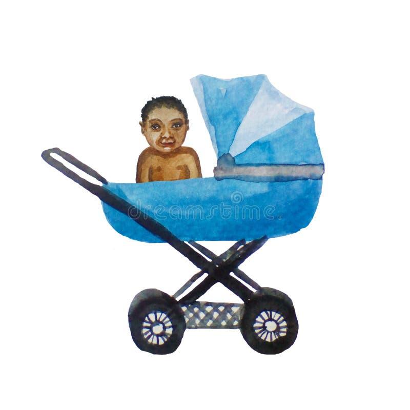 Criança preta no carrinho de criança azul para um bebê recém-nascido, ilustração da aquarela no branco ilustração do vetor