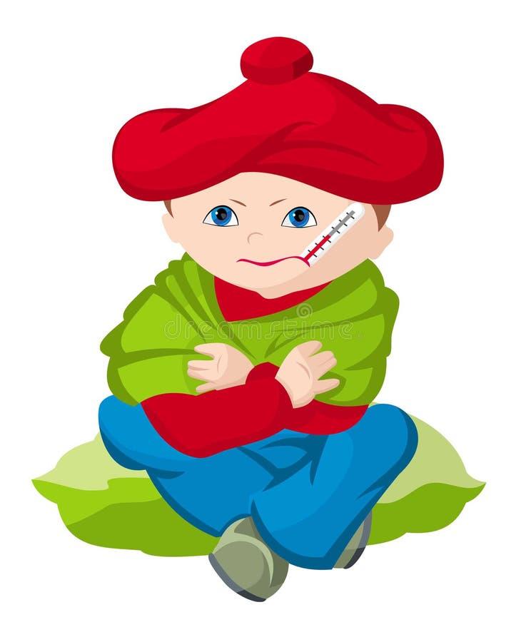 A criança que é doente ilustração stock