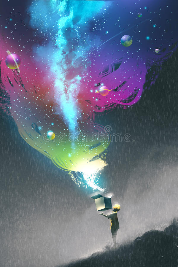 A criança que abre uma caixa da fantasia com luz colorida ilustração do vetor