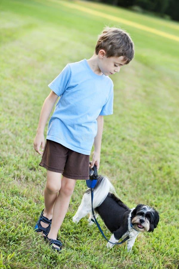 Criança que anda um cão imagens de stock