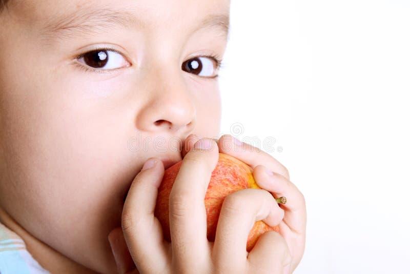 Criança que come a maçã imagens de stock royalty free