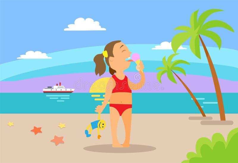 Criança que come o gelado na praia, vetor das férias ilustração stock