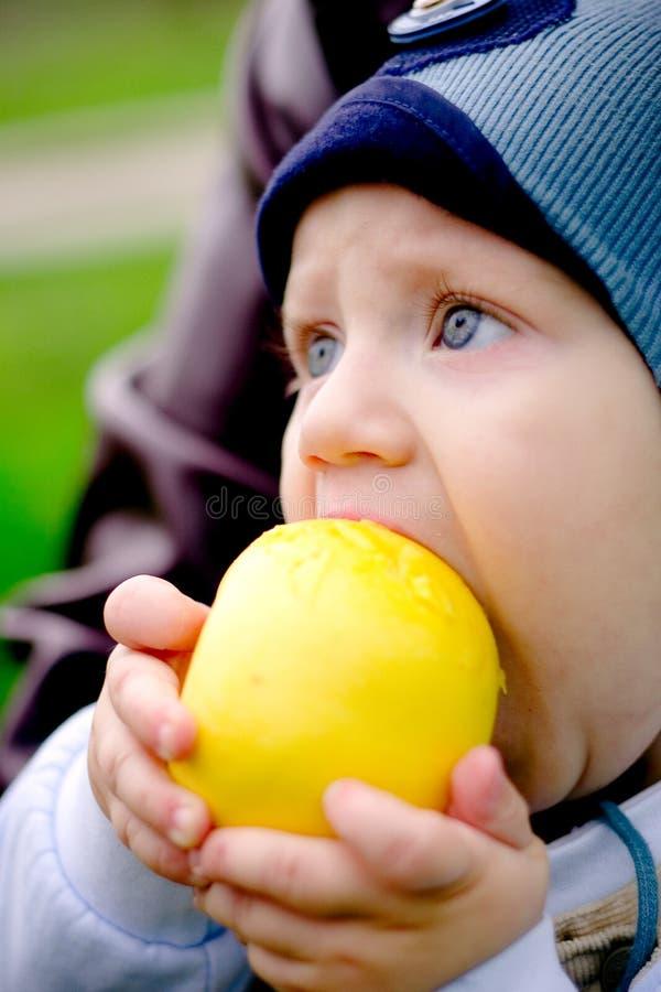 Criança que come uma maçã foto de stock royalty free