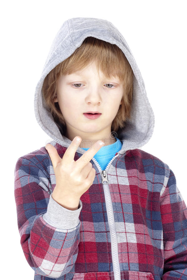 Criança que conta nos dedos fotos de stock royalty free