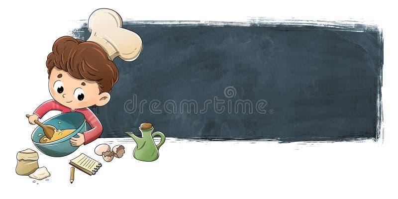 Criança que cozinha com fundo do quadro-negro ilustração stock