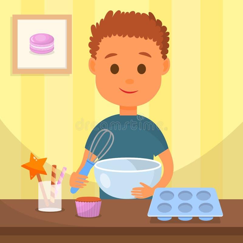 Criança que cozinha a ilustração saboroso do vetor da sobremesa ilustração royalty free