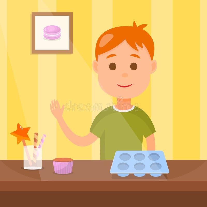 Crian?a que cozinha a ilustra??o saboroso do vetor dos queques ilustração stock