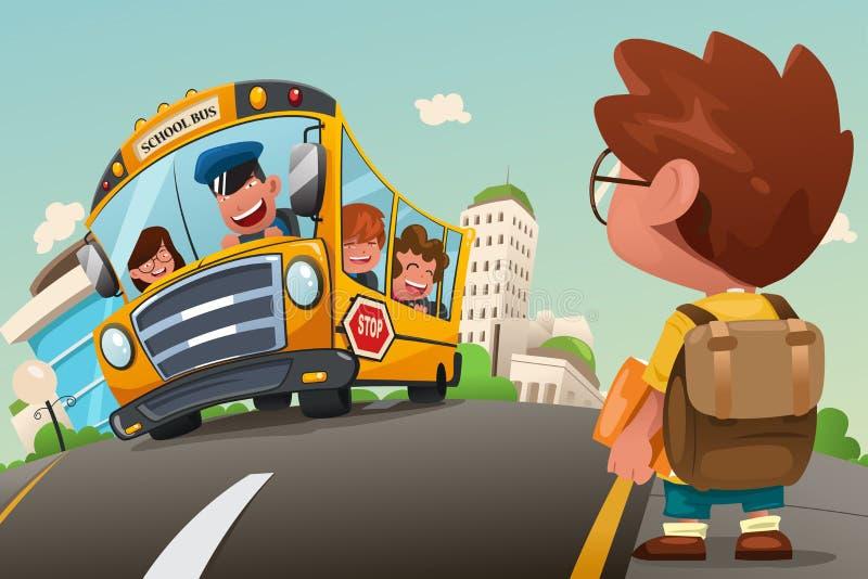 Criança que espera em uma parada do ônibus ilustração do vetor