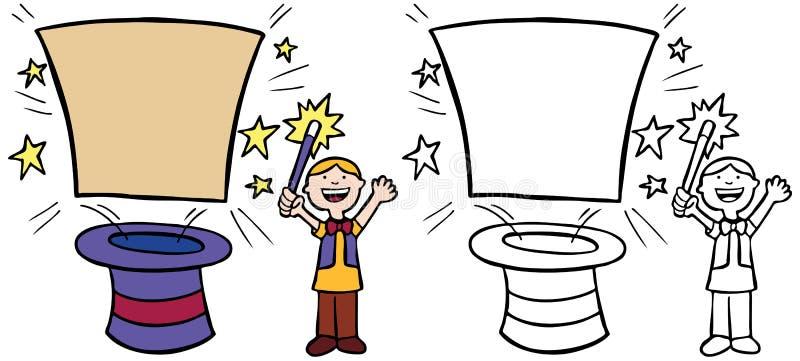 Criança que faz o truque mágico ilustração royalty free