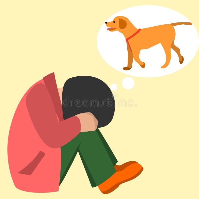 Criança que grita sobre desenhos animados do vetor do cão de estimação ilustração stock
