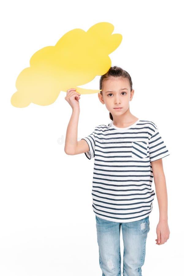 Criança que guarda a bolha do discurso fotos de stock