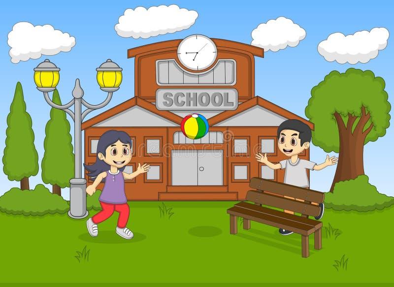 Criança que joga a bola na ilustração do vetor dos desenhos animados da escola ilustração stock