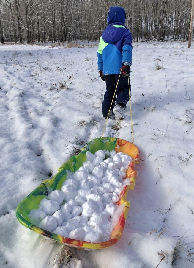 Criança que joga com bolas de neve em um trenó no monte com a neve do inverno que tem o divertimento fotografia de stock