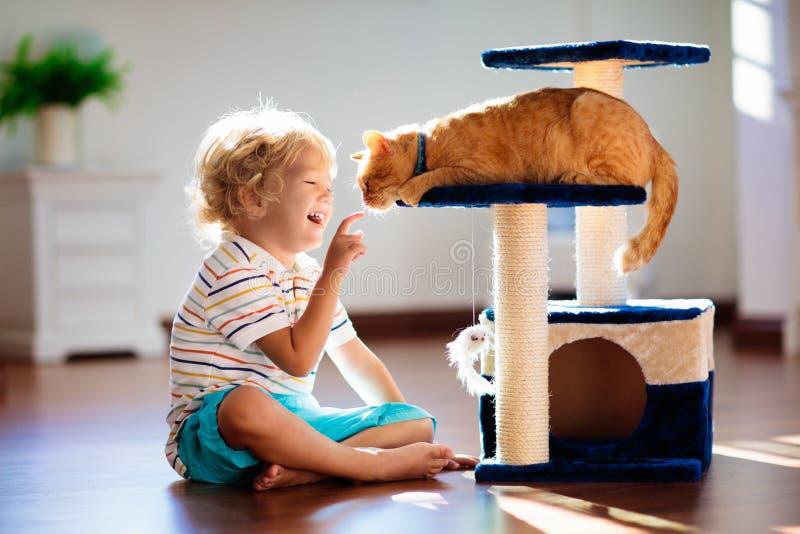 Criança que joga com gato em casa Crianças e animais de estimação imagem de stock