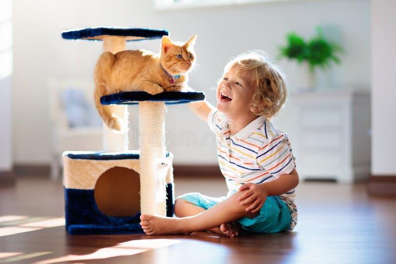 Criança que joga com gato em casa Crianças e animais de estimação imagem de stock royalty free