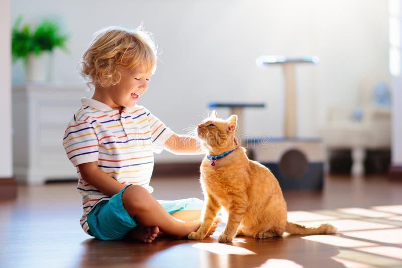 Criança que joga com gato em casa Crianças e animais de estimação fotografia de stock royalty free