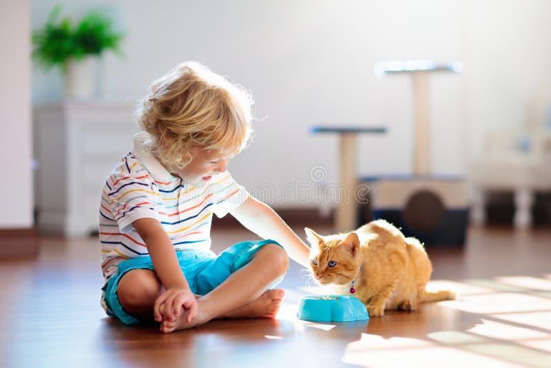 Criança que joga com gato em casa Crianças e animais de estimação fotos de stock royalty free