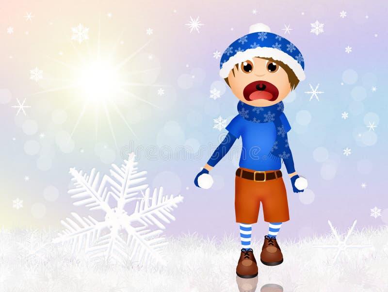 Criança que joga com neve ilustração do vetor