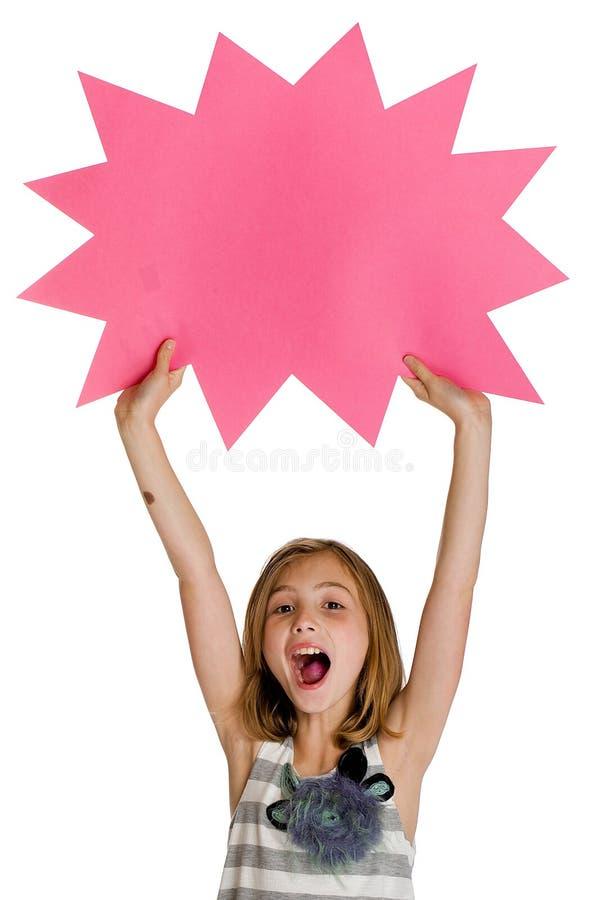 Criança que prende um sinal em branco imagens de stock