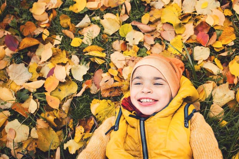 Criança que tem o divertimento fora Menino da criança pequena que encontra-se na grama foto de stock royalty free