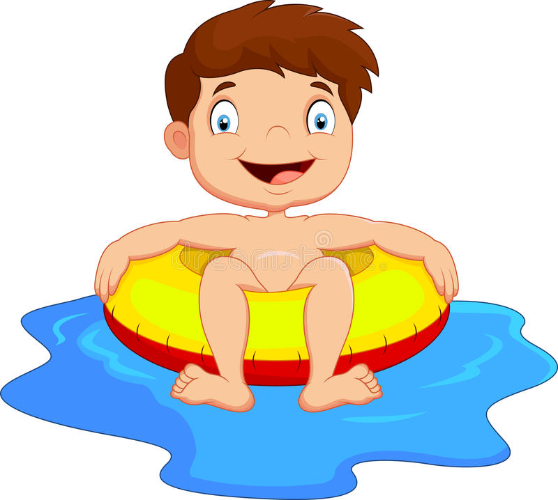 Criança que tem o divertimento na piscina ilustração royalty free