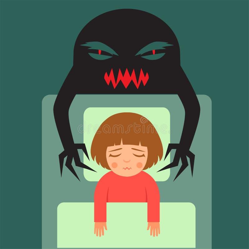 criança que tem sonhos maus ilustração do vetor