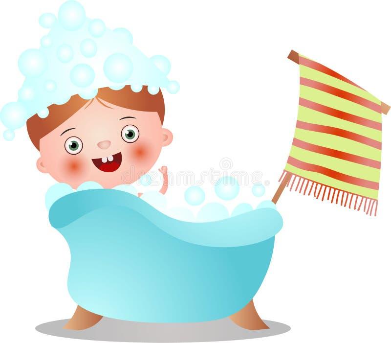Criança vermelha bonito do cabelo no chuveiro da tomada da banheira ilustração royalty free