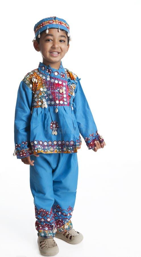 A criança vestiu-se no vestido indiano da dança fotografia de stock
