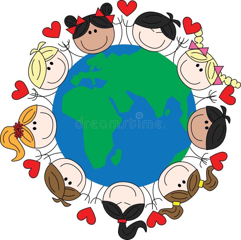 Crianças étnicas misturadas em todo o mundo ilustração royalty free