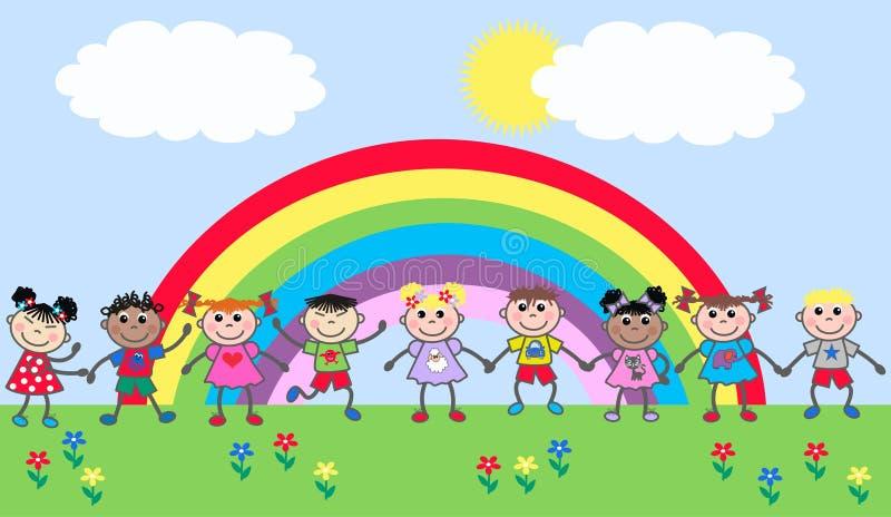 Crianças étnicas misturadas felizes ilustração stock