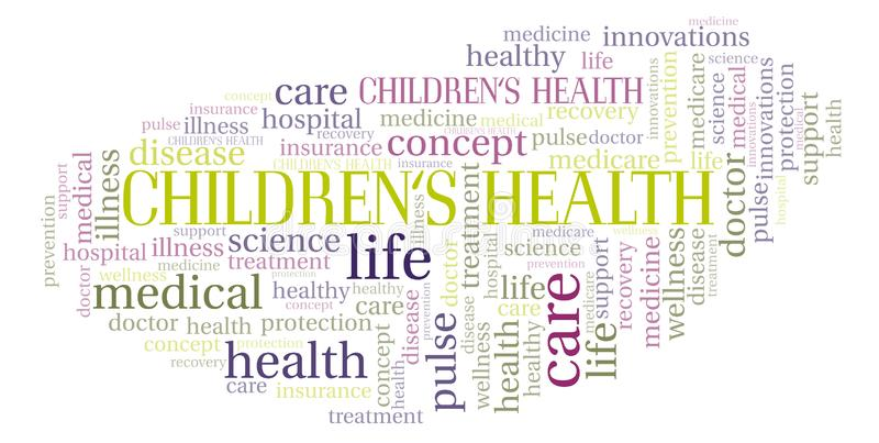 Crianças \ 'nuvem da palavra da saúde de s ilustração stock