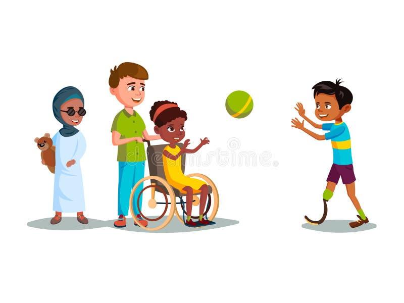 Crianças adolescentes dos enfermos dos desenhos animados do vetor que jogam o grupo ilustração do vetor