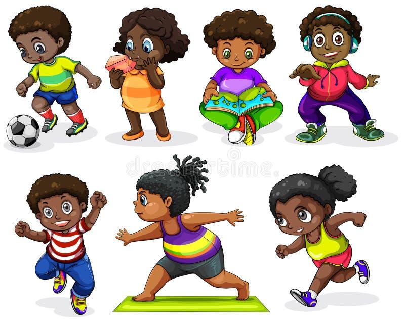 Crianças africanas que contratam em atividades diferentes ilustração royalty free