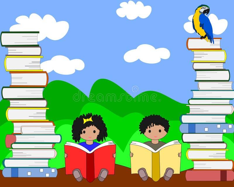 Crianças africanas que sentam-se entre pilhas de livros e de leitura ilustração royalty free
