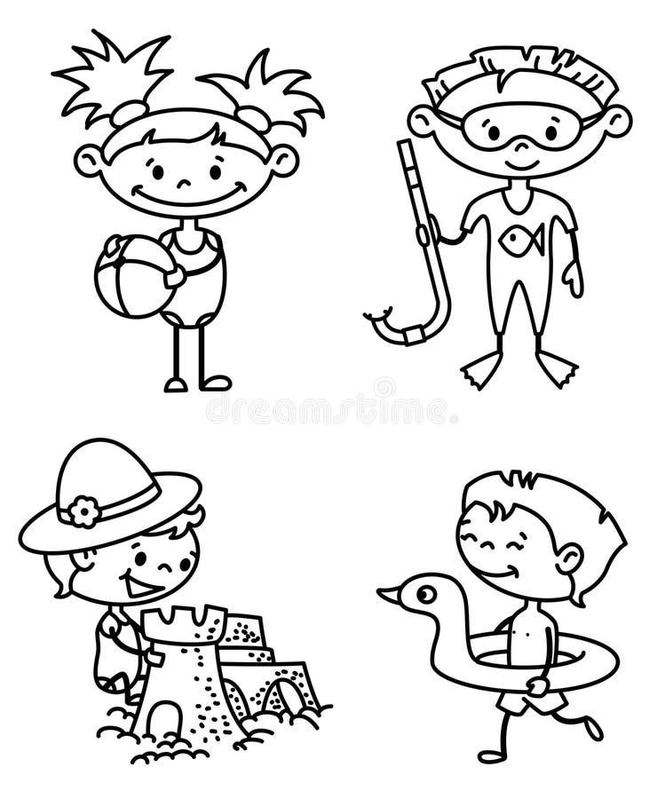 Crianças ajustadas ilustração stock