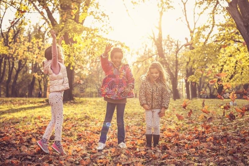 Crianças alegres na natureza imagens de stock