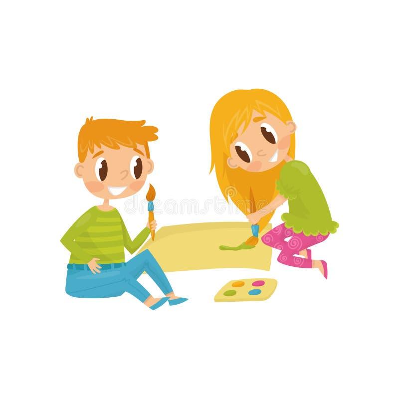 Crianças alegres que tiram a imagem Ferramentas para pintar o papel, as escovas e as pinturas Os desenhos animados caçoam caráter ilustração do vetor